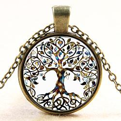 """Colliers avec pendentif rond avec motif arbre de vie en verre, avec des chaînes d'alliage, bronze antique, 18""""(X-NJEW-N0051-048O-01)"""