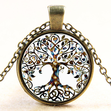 Tree Of Life Pattern Flat Round Glass Pendant Necklaces, with Alloy Chains, Antique Bronze, 18 inches(X-NJEW-N0051-048O-01)