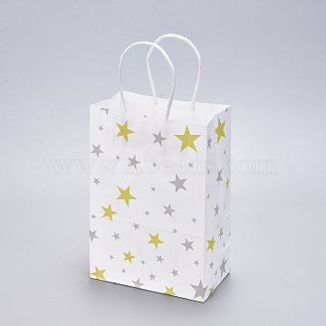 Paper Bags, with Handles, Gift Bags, Shopping Bags, Rectangle, White, Star Pattern, 15x8x21cm(CARB-L004-A02)