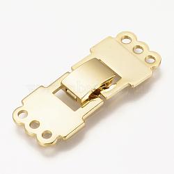 laiton replier fermoirs, réel 18 k plaqué or, 33.5x14x4 mm, trou: 2 mm(X-KK-Q735-240G)