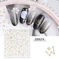 Nail Art Stickers Decals, Self-adhesive, 3D Flower Design, For Nail Tips Decorations, Golden, 9x8.7cm(X-MRMJ-T007-24F)