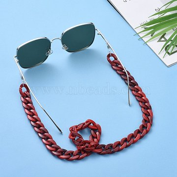 Eyeglasses Chains, Neck Strap for Eyeglasses, with Acrylic Curb Chains, 304 Stainless Steel Jump Rings and Rubber Loop Ends, Indian Red, 27.56 inches(70cm)(AJEW-AL0009-04)