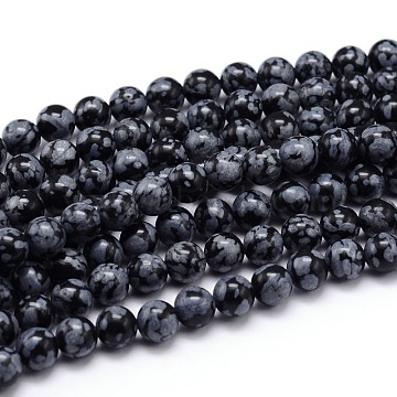 Natural Snowflake Obsidian Round Bead Strands, 12mm, Hole: 1mm; about 35pcs/strand, 16inches(G-J303-09-12mm)