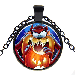 Halloween Theme Glass Pendant Necklaces, with Alloy Findings, Flat Round with Pumpkin, Gunmetal, 17.7