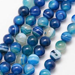 Natural Striped Agate/Banded Agate Bead Strands, Round, Grade A, Dyed & Heated, DeepSkyBlue, 6mm, Hole: 1mm; about 61pcs/strand, 15inches