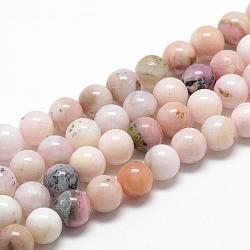 """Chapelets de perles en opale rose naturelle, grade AB, rond, 8~9mm, trou: 1mm; environ 45~48 pcs/chapelet, 15.7""""(G-R446-8mm-09)"""