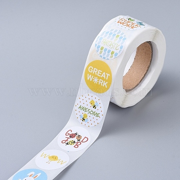 Self-Adhesive Paper Gift Tag Stickers, for Party, Decorative Presents, Flat Round, Word, 25mm; 500pcs/roll(DIY-E027-A-03)