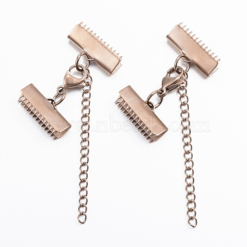 304 Stainless Steel Lobster Claw Clasps, with Ribbon Ends, Rose Gold, 20mm(X-STAS-E052-46RG)
