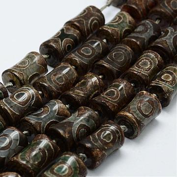 Tibetan Style 3-Eye dZi Beads Strands, Natural Agate Beads, Dyed & Heated, Bamboo, DarkOliveGreen, 14~15x18~22mm, Hole: 3mm; about 12pcs/strand, 12inches(305mm)(TDZI-G010-S01)