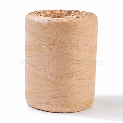 Raffia Natural Rope, for Jewelry Making, BurlyWood, 15~40mm, about 109.36 yards(100m)/roll(X-OCOR-WH0031-E01)