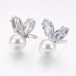 Clips de boucle de chaussure en laiton, avec perles en plastique imitant perles de zircone et abs, fleur, platine, 20x17x10.5 mm; broches: 0.4x2 mm(ZIRC-E151-02P)