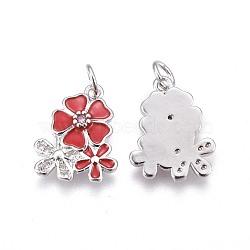 pendentifs en laiton, avec de la zircone cubique et de l'émail, fleur, platine, rouge, 15.5~16x12.5x2.7~2.8 mm, trou: 3.2 mm(KK-E773-01B-P)