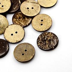 Boutons de noix de coco, 2-trou, plat rond, coconutbrown, 25x3mm, Trou: 2mm(X-COCO-I002-098)