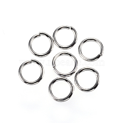 304 кольца прыжок из нержавеющей стали, закрыты, но распаяны, но разведены кольца прыжок, цвет нержавеющей стали, 6x0.9 мм; внутренний диаметр 4.2 мм; около 200pcs / 10g(X-STAS-D448-099P-6mm)
