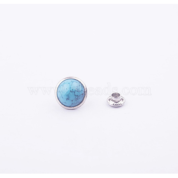 Turquoise Rivet Studs, with Stainless and Aluminum Findings, For Purse, Bags, Boots, Leather Crafts Decoration, Platinum, Sky Blue, 12mm(FIND-WH0012-C-01)