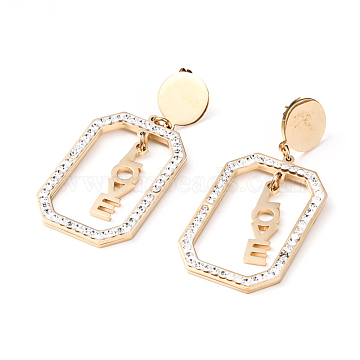 Valentine's Day 304 Stainless Steel Dangle Stud Earrings, with Ear Nuts and Polymer Clay Rhinestone, Rectangle with Word LOVE, Golden, 52mm, Pin: 0.7mm(EJEW-G280-27G)