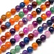 Dyed Natural Agate Faceted Round Beads Strands(G-E267-26)-1