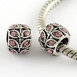 Perles européennes en alliage plaqué argent antique à gros trou, rondelle à la feuille, rose clair, 9x7mm, Trou: 5mm(X-MPDL-R041-02B)