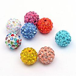 Polymer Clay Pave Rhinestone Beads, Disco Ball Beads, Mixed Color, PP13(1.9~2mm), 6 Rows Rhinestone; 10mm, Hole: 1.5mm(RB-Q197-10mm-M)