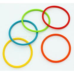 Mélange de bracelet en caoutchouc, couleurs assorties, environ 4 mm d'épaisseur, 6 cm diamètre intérieur(X-B164)