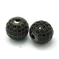 Латунные шарики циркония кубической, круглые, металлический черный , 10 мм, отверстие : 2 мм(ZIRC-D022-02B-10mm)