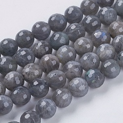Natural Labradorite Beads Strands, Faceted, Round, Gray, 4mm, Hole: 1mm; about 90pcs/strand, 15.8inches
