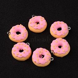 Полимерная глина Подвески, пончик, Hotpink, 19x7 mm, отверстия: 3 mm(X-CLAY-Q186-07)