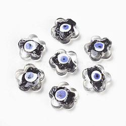 Perles vernissées manuelles, mauvais œil, fleur, noir, environ 25 mm de large, Longueur 25mm, Trou: 2mm(DT100J-6)