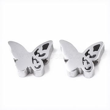 304 Stainless Steel Beads, Butterfly, Stainless Steel Color, 8x10x3mm, Hole: 2mm(X-STAS-S079-180B)