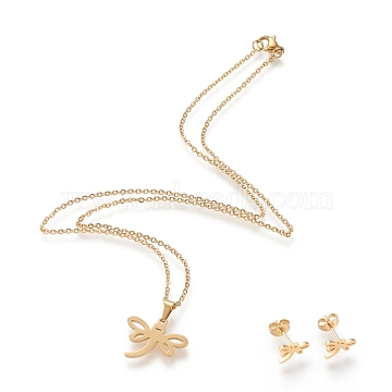 304 Stainless Steel Jewelry Sets, Cable Chains Pendant Necklaces and Stud Earrings, with Lobster Claw Clasps and Ear Nuts, Dragonfly, Golden, 17.59 inches(44.7cm); 7.4x11mm, Pin: 0.8mm(SJEW-I202-21G)