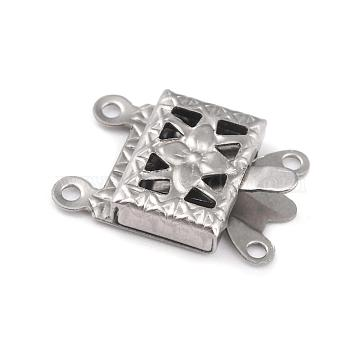 304 Stainless Steel Box Clasps, Multi-Strand Clasps, 2-Strands, 4-Holes, Rectangle with Flower, Stainless Steel Color, 15x10x3mm, Hole: 1mm(STAS-H151-13P)