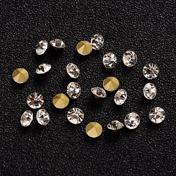 Glass Pointed Back Rhinestone, Faceted Diamond, Back Plated, Crystal, 4x2.9mm, about 1440pcs/bag(CR4mm11Y)