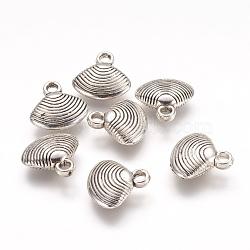 Пластмассовые подвески ccb, оболочки подвески, античное серебро, 17x17x5 мм, отверстие : 3 мм(CCB-J030-27AS)