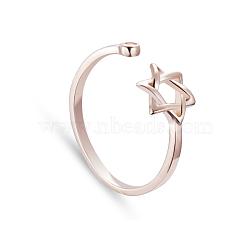 Tinysand® sterling hexagramme d'argent forme brassard bague réglable, or rose, 16.60mm(TS-R270-RG)
