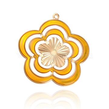 Light Gold Plated Iron Enamel Flower Big Pendants, Gold, 56x53x1mm, Hole: 2mm(IFIN-J105-01KCG)