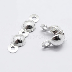 925 Sterling Silver Bead Tips Knot Covers, Silver, 15.5x4x2mm, Hole: 1mm; Inner Diameter: 3mm(X-STER-K167-002D-S)