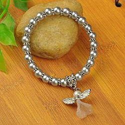 Bracelets d'ange belle avec robe de mariée pour les enfants, bracelets carnaval extensibles, avec verre perles de nacre et de perles de style tibétain, gris clair, 45mm(BJEW-JB00727-20)