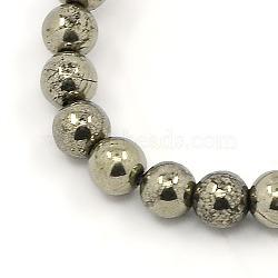 """Chapelets de perles de pyrite naturelle , rond, Darkkhaki, 4mm, trou: 1mm; environ 104 pcs/chapelet, 15.5""""(G-M009-03F)"""