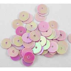 paillette en plastique / perles paillettes, violette, ab couleur, 6 mm de diamètre, trou: 1 mm(X-PVC6mm05Y)