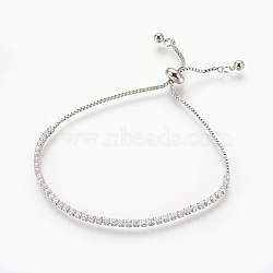 Bracelets bolo en laiton, Bracelets coulissants, avec zircons, carrée, clair, platine, 3.2~7.3 cm(BJEW-P232-01P-03)