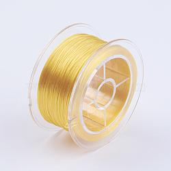 Chaîne de cristal élastique plat, fil de perles élastique, pour la fabrication de bracelets élastiques, jaune, 0.8 mm; environ 50 m/rouleau(EW-I001-0.8mm-05)