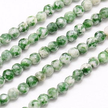Natural Green Spot Jasper Beads Strands, Faceted, Round, Green, 4mm, Hole: 1mm; about 90pcs/strand, 15.35inches(G-G545-35)