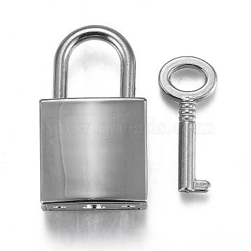 Rectangle Alloy Padlock Mini Lock with Key, for Jewelry Box Storage Box Diary Book, Platinum, 35.5x20.5x11mm, Hole: 10x12mm(PALLOY-H191-02P)