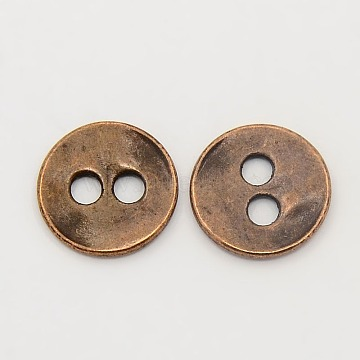 Tibetan Style Buttons, Cadmium Free & Nickel Free & Lead Free, Flat Round, Red Copper, 13x2mm, Hole: 2.5mm(TIBE-R178-R-FF)