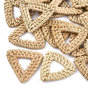 Handmade Reed Cane/Rattan Woven Linking Rings, For Making Straw Earrings and Necklaces,  Triangle, BurlyWood, 40~43x40~45x5mm, Inner Measure: 11~21x11~21mm(X-WOVE-T005-15A)