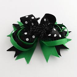 Halloween gros-grain bowknot alligator pinces à cheveux, avec des clips de fer, platine, verte, 110x130mm(PHAR-R165-01)