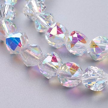 Glass Imitation Austrian Crystal Beads, Faceted Round, Clear AB, 9x9.5x9.5mm, Hole: 1.2mm(GLAA-O019-03B)