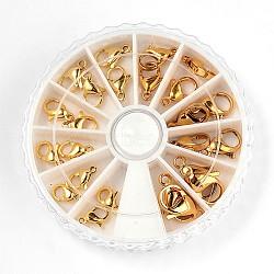 Fermoirs à pince de homard en 304 acier inoxydable , taille mixte, or, 9~15x5~9x2.5~4mm, trou: 1~2mm; 2pcs / compartemnt, 24 pcs / boîte(STAS-X0015-G-B)