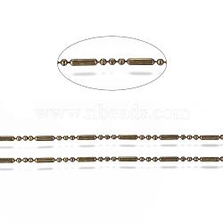 chaînes à billes en laiton, chaînes de perles à facettes boule et barre, plaqué longue durée, soudé, avec bobine, sans cadmium et sans nickel et sans plomb, bronze antique, 5.8x1.4 mm et 1.4 mm(X-CHC-S008-008A-AB)