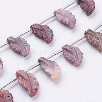 Natural Mookaite Beads Strands, Leaf, 18~20.5x11~12x4~5mm, Hole: 1mm; about 20pcs/strand, 15inches(38cm)(G-P340-29-20x11mm)